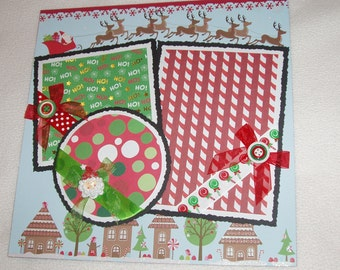 Christmas Santa Sleigh Reindeer Girl Boy 12x12 Premade Scrapbook Page by KARI