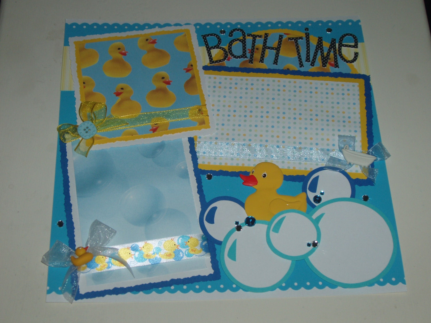 New Baby Bath Time Bubbles Premade Scrapbook Page by KARI