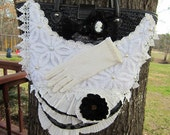 Victorian Decorated Black and White Straw Purse