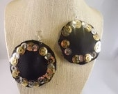 Black Leather Circle Earrings with Gold and Silver Sequins and Paint