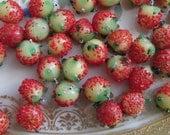 25 Tiny Antique Glass Strawberries