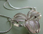 Vintage Silver Flower Necklace And Pin