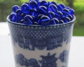 50 Vintage Japanese Cobalt Blue Glass Beads