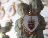 Enameled Sacred Heart Religious Charm