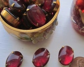 Vintage Set Oval Red Wine Glass Cabochon