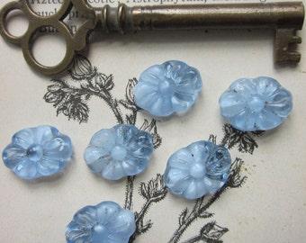 8 Vintage Elongated Blue Glass Flower Bead