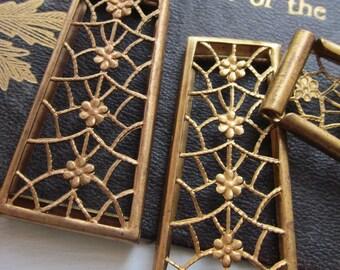 Vintage Floral Trellis Design Cut Metal Finding