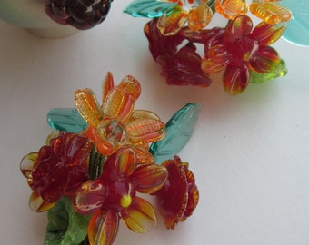 A Orange And Red Glass Bead  Bouquet