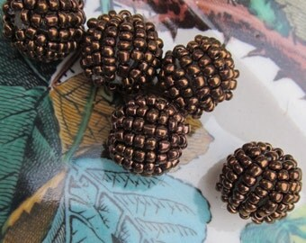 Vintage Brown Berry Glass  Bead