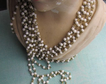 Vintage Delicate White  Glass  Chain