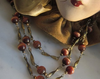One And A Half Yards Vintage Brown Cat's Eye Glass Beaded Chain