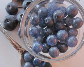 Vintage Sweet  Dusty Blueberry Glass Bead