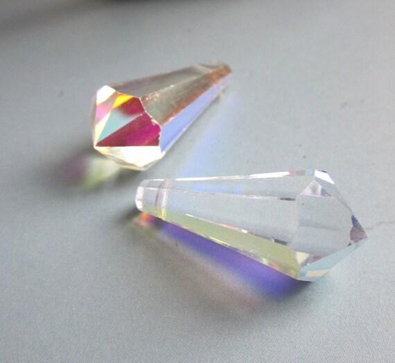 A Pair Of  Aurora Borealis Cut Crystal Pendents