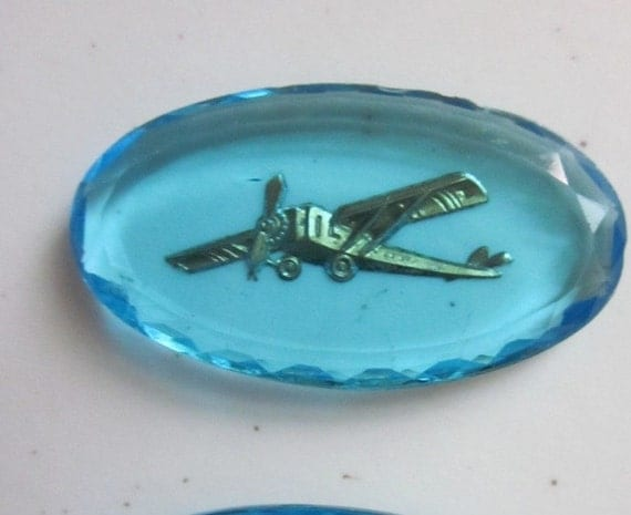 Vintage Aqua Blue Cabochon With Cool Small Airplane Design
