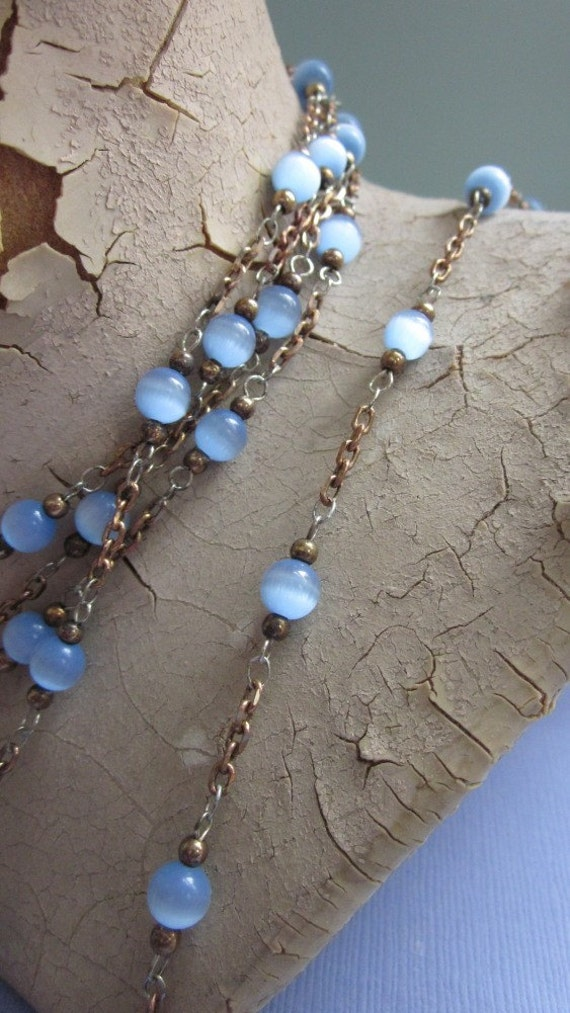 One And A Half Yards Vintage Periwinkle Blue Cat's Eye Glass Beaded Chain