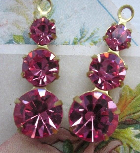 Four Vintage Hot Pink Three-Tier Swarovski Crystal Drop, listin