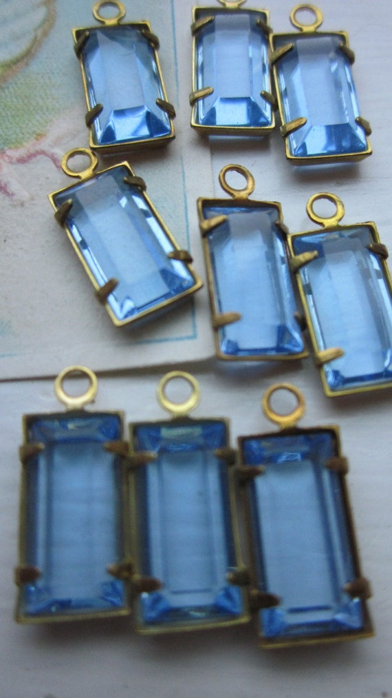 Light Sapphire Blue Rectangular Glass Drop