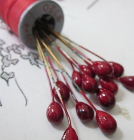 Vintage Candy Apple Red Glass Center On Wire