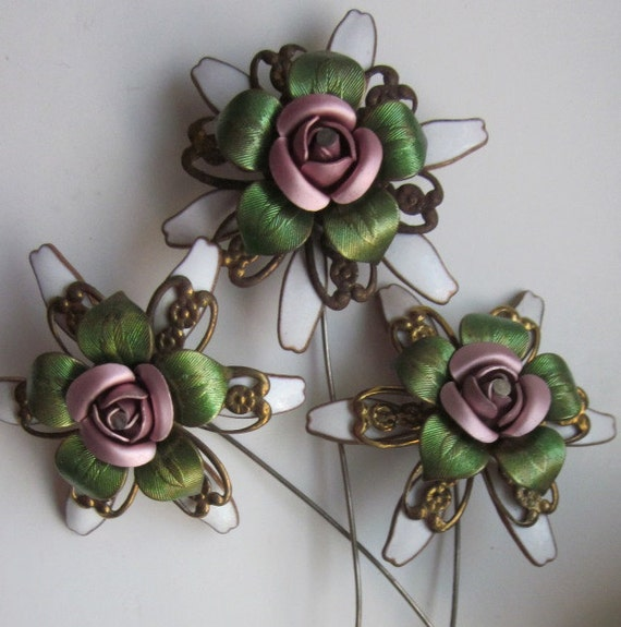 Vintage Brass  and Enameled  Wired  Flower