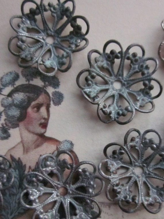 Vintage Perfectly Aged Lacey Metal Flower