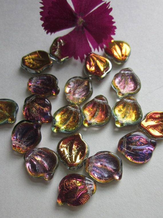 20 Curved Iridescent Glass Czech Pressed Leaf Bead