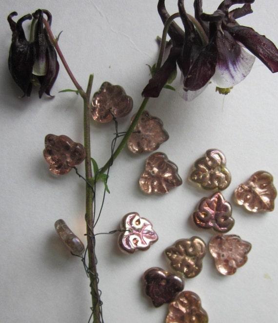 Glass Leaf  Iridescent  Czech Pressed  Bead