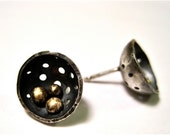 Nest Earrings- Sterling Silver Cups Bronze Pebble Posts