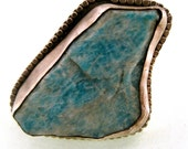 50% OFF Perfect Storm Ring- Blue Green Serpantine Raw Rough Stone Sterling Silver Cocktail Ring