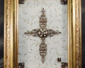 One of a kind Jewelry Cross framed on glass. Hand made and UNIQUE S115