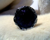 Black Glitter Goth adjustable ring