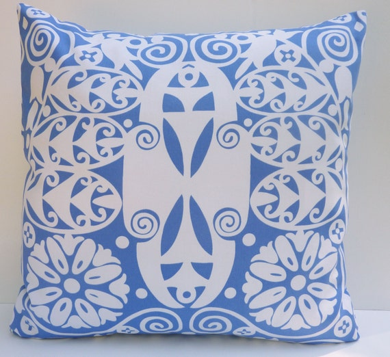 ONE- 18x18 Decorative Pillow in Designer Fabric Periwinkle Blue White-ENVELOPE CLOSURE