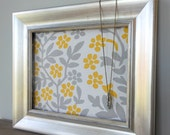 Corkboard, Antiqued Silver frame 11x14, Yellow and grey print fabric