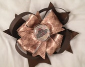 Brown Loopy Bow with Cupcake Character Stone Clippie