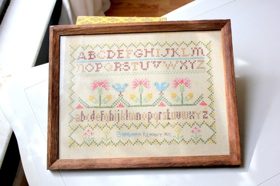 Vintage 1972 Cross Stitch Sampler