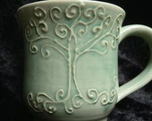 turquoise filigree tree tea cup mug - handmade ceramic glazed pottery