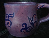 purple periwinkle mug with midnight blue henna vines and swirls - handmade glazed ceramic pottery