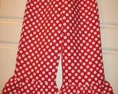 Girl's Boutique Style Ruffle Pants Red Polka Dot Ruffle Toddlers Ruffle Pants Polka Dots Red