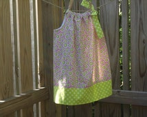 Girls Pillowcase Dress size 2 Cotton Daisy Boutique Style Sundress Pink Lime Green Dress Polka Dots Ready to Ship