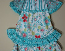 Girls Peasant Dress Vintage Jane Boutique Style Teal Aqua Blue Red Ruffles Size 3t