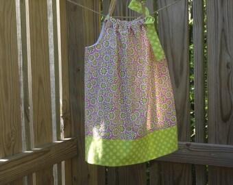 Girls Pillowcase Dress size 2 Cotton Daisy Boutique Style Sundress Pink Lime Green Dress Polka Dots Ready to Ship
