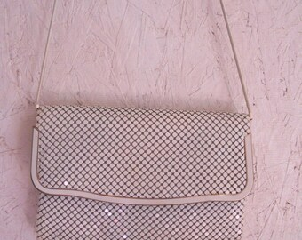 Vintage White Chain Mail Clutch Purse // Crossbody