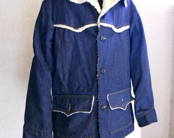 Vintage 70s Denim Jacket // Shearling and Denim Western Jacket 42 T