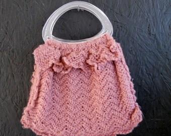 SALE 70s Hand Knitted Tote . MAUVE Mohair Ruffle Handbag . Like New