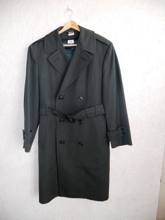 RESERVED Vintage 70s Trench Coat // Mens Double Breasted Coat Green S