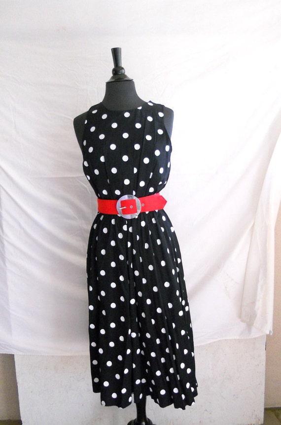 80s Polka Dot Dress . Sleeveless Rayon Sundress . 1980s Summer Dress M