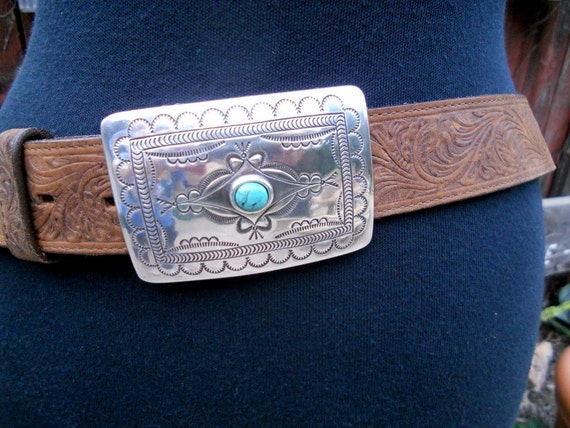 RESERVED   Vintage Tooled Leather Belt . Tony Lama Belt . Silver Navajo Buckle