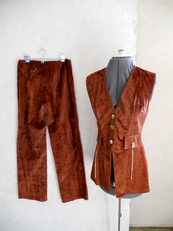 60s 70s MOD Pantsuit . Velvet . STEAMPUNK . High Waist Pants . Small