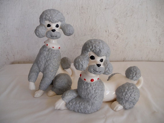 Vintage 70s Twin Poodles // Large Ceramic Poodle Figurine Set