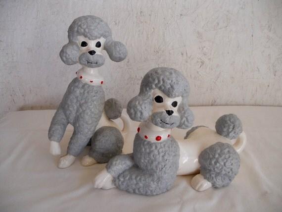 Vintage 70s Twin Poodles Large Ceramic Poodle Figurine Set