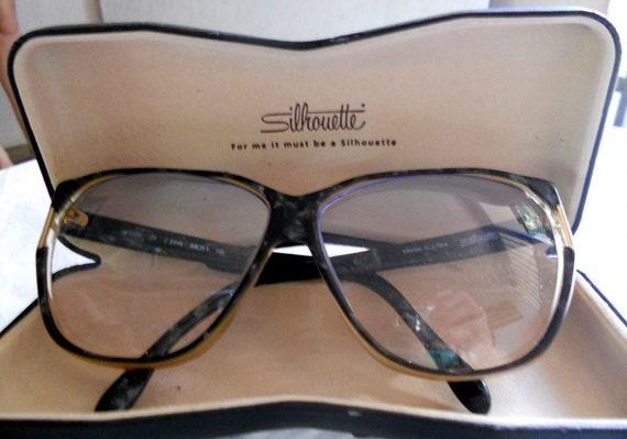 Vintage Silhouette Eyeglasses // Oversized Marbled Glasses // Tortoise Shell Glasses